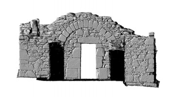 Elevation back 2 of 3D model of Reefert Church, Glendalough