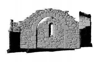 Elevation section 2 of 3D model of Reefert Church, Glendalough
