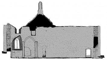 Front elevation section view 1 of untextured 3D model of The Cathedral, Clonmacnoise