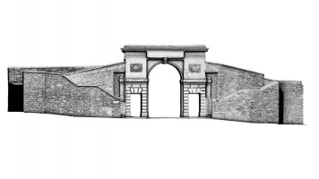 Rear elevation of Bishop's Gate, Derry City Walls