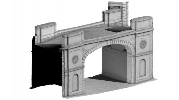 Rear isometric view 2 of Shipquay Gate, Derry City Walls