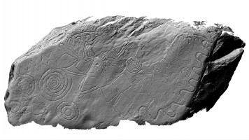 Shaded elevation image of decorated kerbstone 13, Knowth
