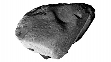 View of front face of orthostat within satellite tomb 14, Knowth (light from SW)