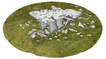 Perspective view 4 of Poulnabrone portal tomb (coloured), Co. Clare