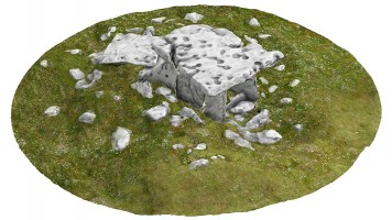 Perspective view 3 of Poulnabrone portal tomb (coloured), Co. Clare