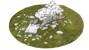 Perspective view 2 of Poulnabrone portal tomb (coloured), Co. Clare