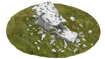 Perspective view 1 of Poulnabrone portal tomb (coloured), Co. Clare
