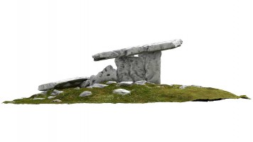 Side elevation 1 of Poulnabrone portal tomb (coloured), Co. Clare