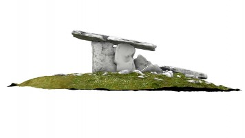 Side elevation 2 of Poulnabrone portal tomb (coloured), Co. Clare