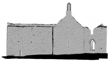 Rear elevation view of untextured 3D model of The Cathedral, Clonmacnoise