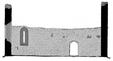 Rear elevation section view of untextured 3D model of Temple Melaghlin, Clonmacnoise