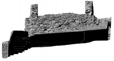 Elevation of shaded 3D model of the Gateway, Glendalough