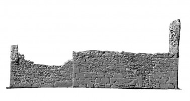 Elevation side left view of untextured 3D model of St Mary's Church, Glendalough