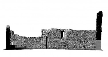 Elevation side left section view of untextured 3D model of St Mary's Church, Glendalough