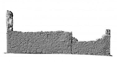 Elevation side right view of untextured 3D model of St Mary's Church, Glendalough