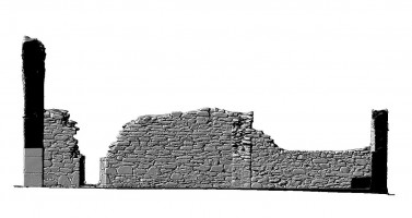 Elevation side right section view of untextured 3D model of St Mary's Church, Glendalough