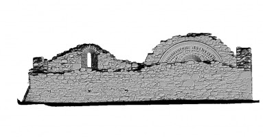 Left elevation view of untextured 3D model of St Saviour's Priory, Glendalough
