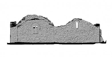 Right elevation section view of untextured 3D model of St Saviour's Priory, Glendalough