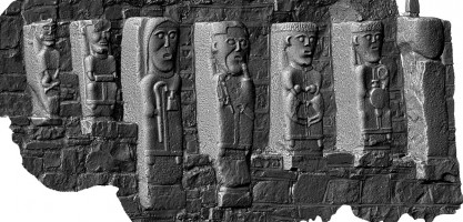Perspective view 2 of early Christian figures at White Island, Co. Fermanagh