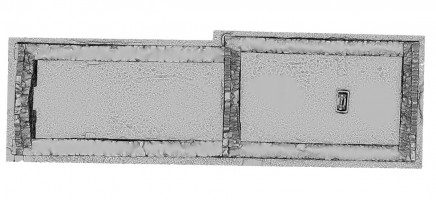 Plan view of untextured 3D model of Temple Dowling & Temple Hurpan, Clonmacnoise