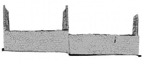 Rear elevation view of untextured 3D model of Temple Dowling & Temple Hurpan, Clonmacnoise