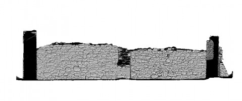 Right elevation view of untextured 3D model of St Saviour's Priory, Glendalough