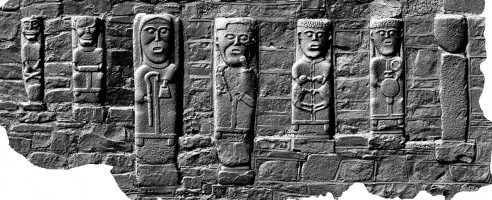 Front view of early Christian figures at White Island, Co. Fermanagh