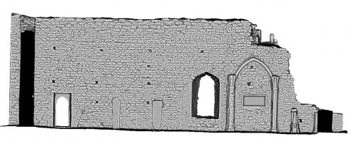 Rear elevation section view 2 of untextured 3D model of The Cathedral, Clonmacnoise