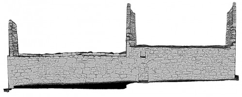 Front elevation view of untextured 3D model of Temple Dowling & Temple Hurpan, Clonmacnoise