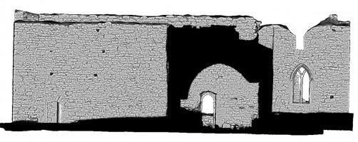 Rear elevation section view 1 of untextured 3D model of The Cathedral, Clonmacnoise