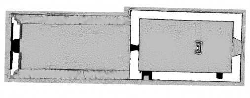 Plan section view 1 of untextured 3D model of Temple Dowling & Temple Hurpan, Clonmacnoise