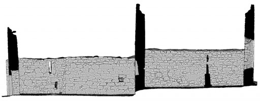 Front elevation section view 1 of untextured 3D model of Temple Dowling & Temple Hurpan, Clonmacnoise
