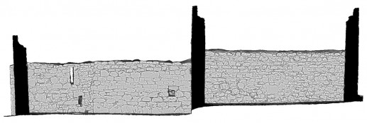 Front elevation section view 2 of untextured 3D model of Temple Dowling & Temple Hurpan, Clonmacnoise