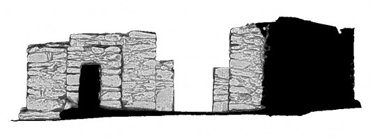 Rear elevation section view 1 of untextured 3D model of St Kieran's Priory, Glendalough