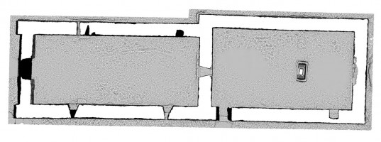 Plan section view 2 of untextured 3D model of Temple Dowling & Temple Hurpan, Clonmacnoise