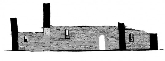 Rear section view of untextured 3D model of Trinity Church, Glendalough
