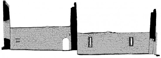 Rear elevation section view of untextured 3D model of Temple Dowling & Temple Hurpan, Clonmacnoise