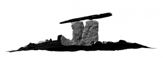 Side elevation 1 section of Poulnabrone portal tomb, Co. Clare