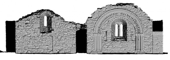 Left elevation section 1 view of untextured 3D model of St Saviour's Priory, Glendalough