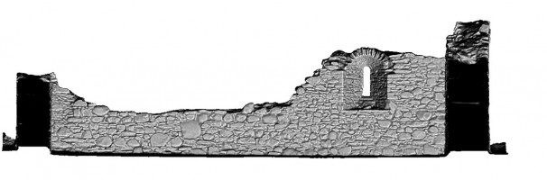Front Elevation section view 2 of untextured 3D model of St Saviour's Priory, Glendalough