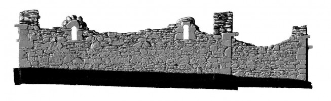 Elevation side 1 of 3D model of Reefert Church, Glendalough