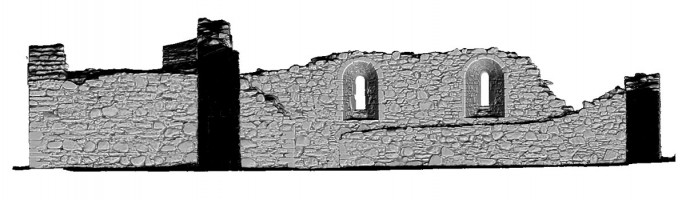 Rear elevation section view 1 of untextured 3D model of St Saviour's Priory, Glendalough