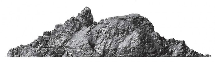 Elevation view 2 of digital terrain model (DTM) of Skellig Michael, Co. Kerry