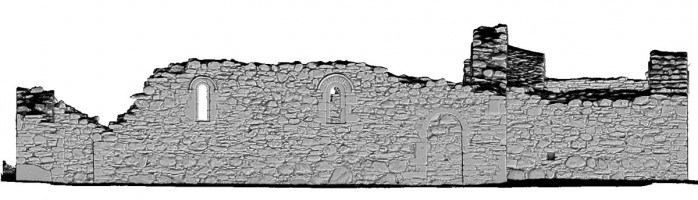 Front Elevation view of untextured 3D model of St Saviour's Priory, Glendalough