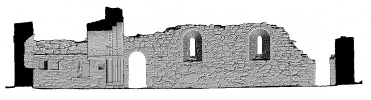 Rear elevation section view 2 of untextured 3D model of St Saviour's Priory, Glendalough