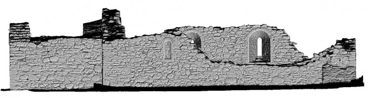 Rear elevation view of untextured 3D model of St Saviour's Priory, Glendalough