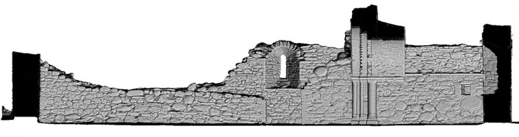 Front Elevation section view 1 of untextured 3D model of St Saviour's Priory, Glendalough