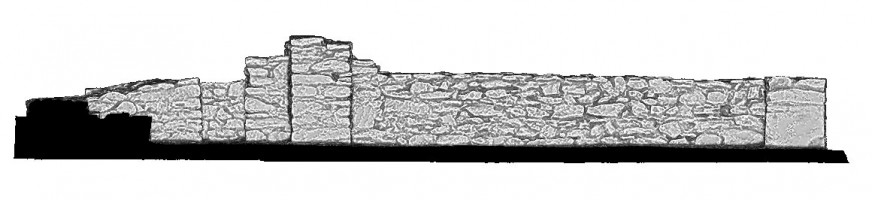 Left elevation section view 1 of untextured 3D model of St Kieran's Priory, Glendalough