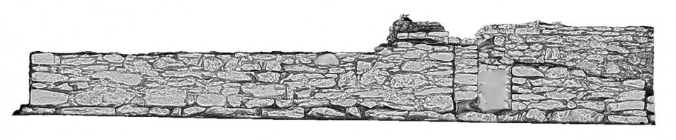 Right elevation view of untextured 3D model of St Kieran's Priory, Glendalough
